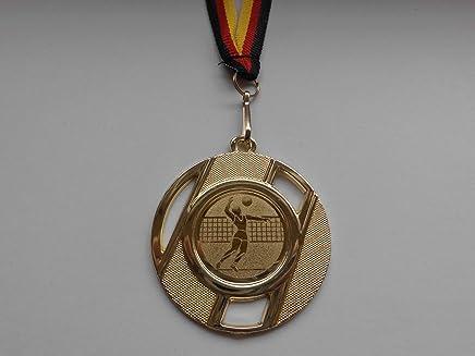 e100 Fussball mit Alu Emblem 25mm inkl Fanshop L/ünen Medaillen Ball aus Stahl 40mm // Gold Fu/ßball Gold - B/älle Medaillen-Band
