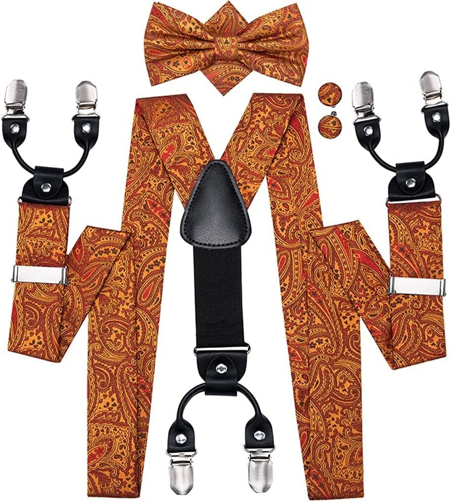 ZYKBB Wedding Suspender and Bow Tie Set for Men Adult Vintage Fashion Brown Gold Paisley Braces Metal 6 Clips (Color : A, Size : Adjustable)