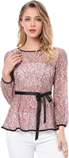 Women's Tie Waist Formal Long Sleeve Semi Sheer Lace Peplum Top
