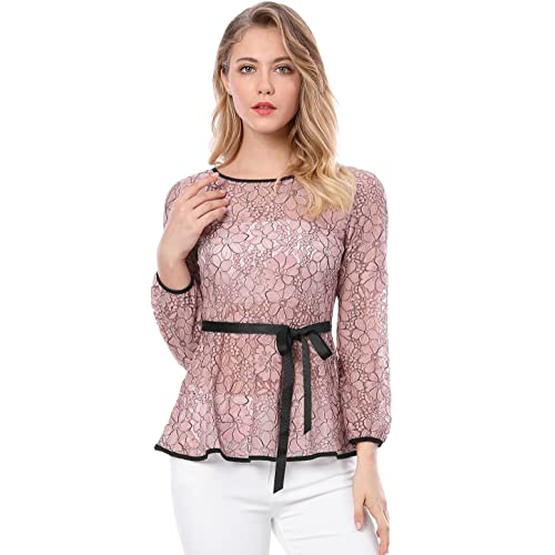 ed7fb99d3f7db5 Allegra K Women s Self-Tie Waist Contrast Long Sleeve Semi Sheer Lace  Peplum Top