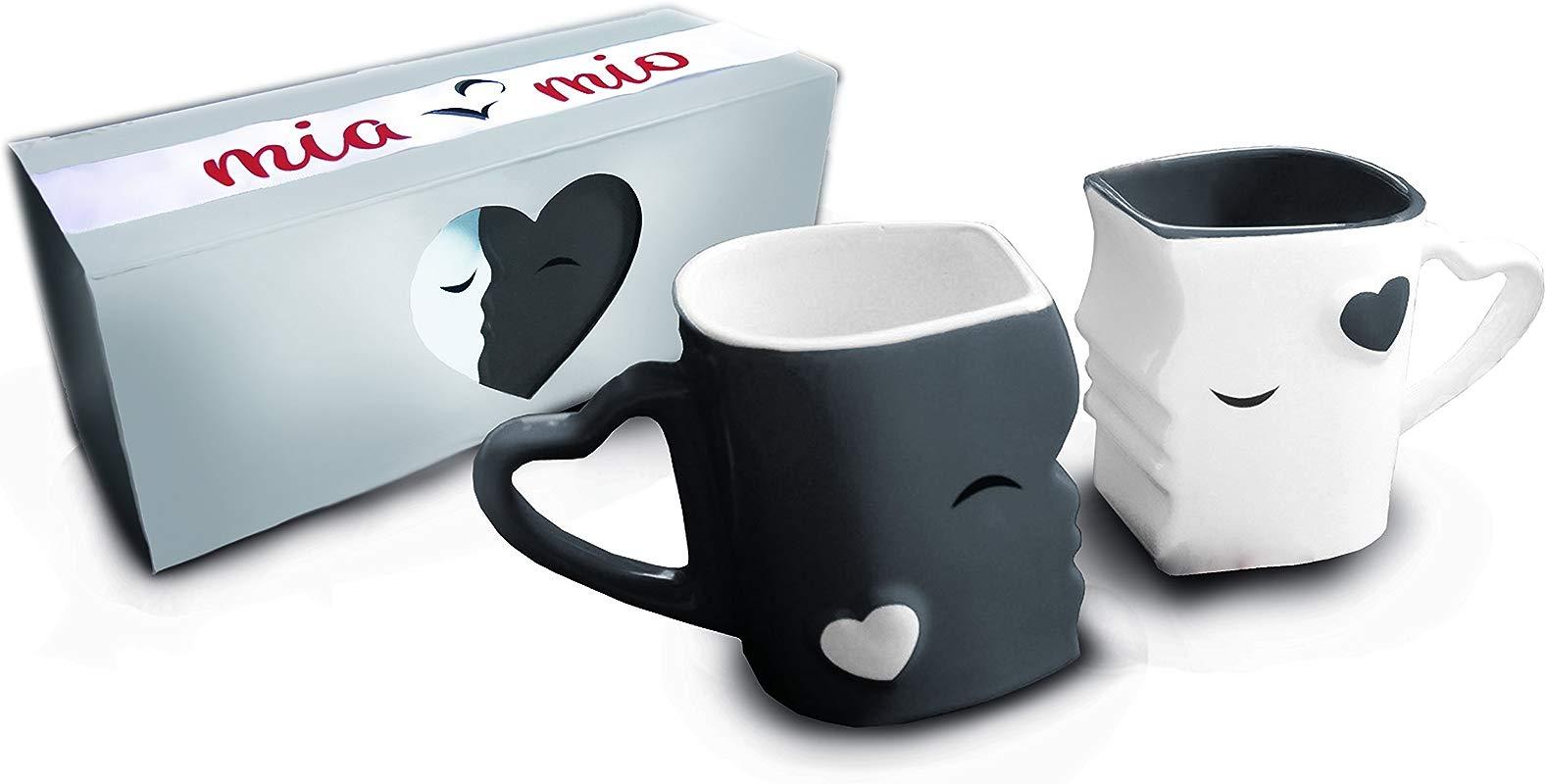 Mia Mio Coffee Mugs Kissing Mugs Bridal Pair Gift Set For Weddings Birthday Anniversary With Gift Box Gray