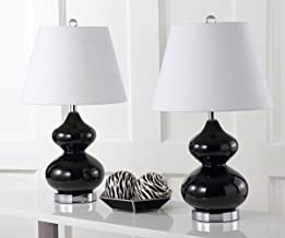 Safavieh Lighting Collection Eva Double Gourd Glass Table Lamp, Black, Set of 2