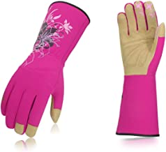Vgo Ladies' Synthetic Leather Long Cuff Rose Garden Gloves(Size M,Red,SL7445)