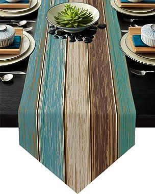 FAMILYDECOR Linen Burlap Table Runner Dresser Scarves, Retro Rustic Old Barn Wood Teal Green Blue Kitchen Table Runners for F