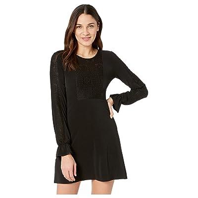 BCBGeneration Lace Yoke Dress (Black) Women