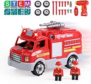 REMOKING STEM Educational Take Apart Vehicle Toys,32Pcs Fire Engine Set with Electric Drill&Lights&Sounds,Best  Boys and Girls 3 Years and Up