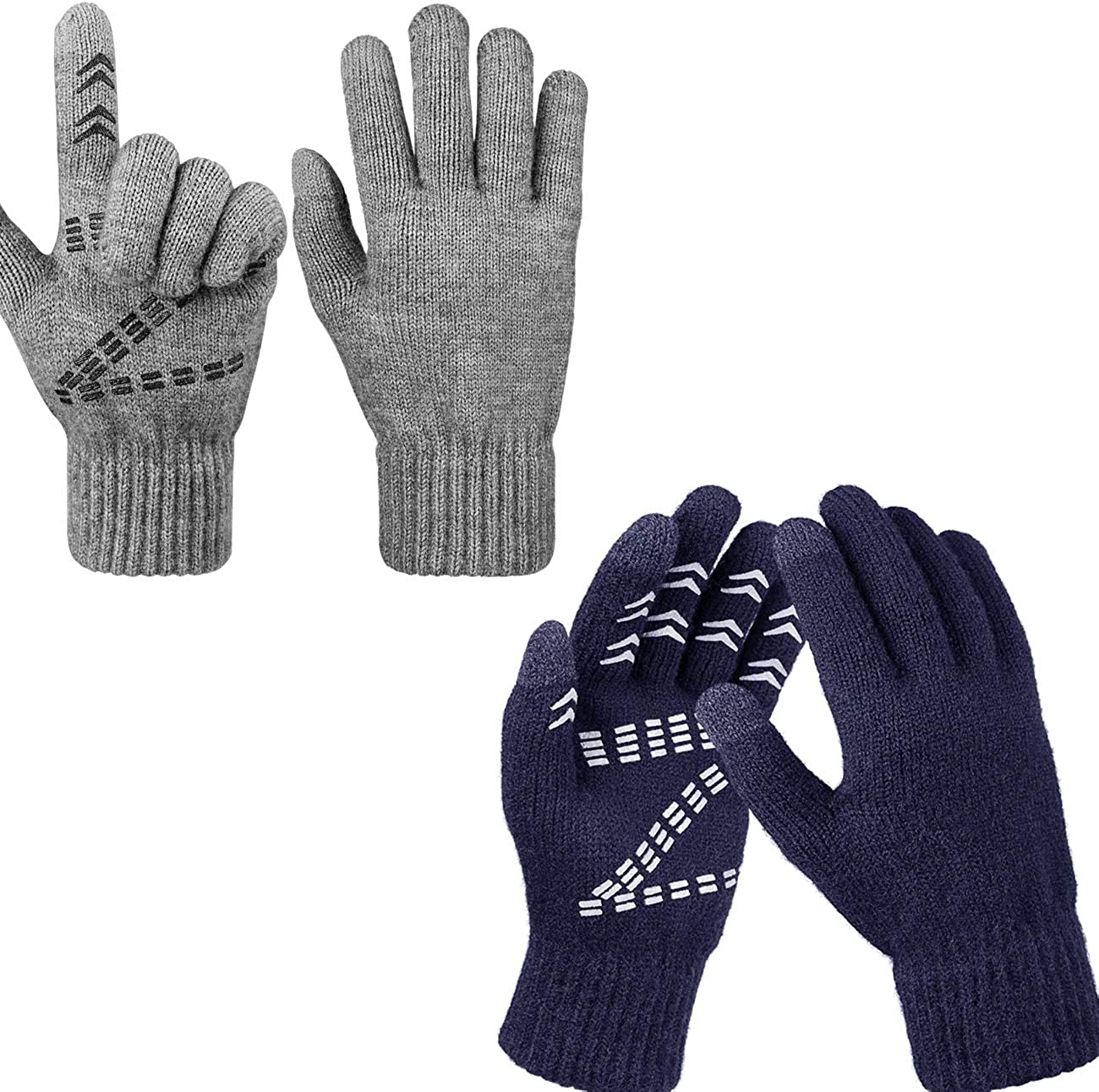 Light Weight Winter Knit Gloves Touchscreen Warm Thermal Soft Lining Anti-Slip Gloves for Men and Women