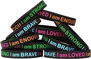 SayitBands 15 I Am Strong Brave Loved Enough Wristband Bracelets