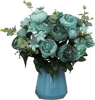 Qianmo Big Artificial Flowers Arrangement Fake Faux Silk Peony Hydrangea Bouquet for Party Wedding Decoration Home Décor C...