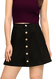 Women's Faux Suede Single Breasted Front Button Down Short Mini A-Line Skirt