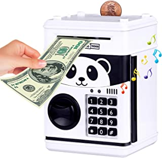 KingsDragon Money Bank for Kids Electronic Piggy Bank Cartoon Password ATM Piggy Bank for Real Money, Auto Scroll Paper Money Saving Box Best Toy Gifts for Boys Girls (Panda)