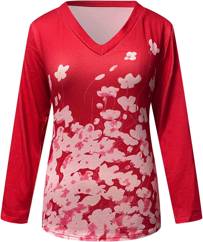 YS-21 Women V-Neck San Francisco Mall Over item handling ☆ Printed Long Pullover Sleeve Blouse Sweatshir