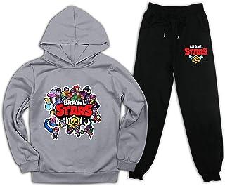 Bra-WL Stars - Conjunto de chándal con capucha y pantalones de chándal de 2 piezas para niños y niñas