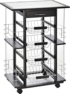 Chariot de service desserte de cuisine à roulettes multi-rangements 4 paniers métal tiroir + 4 range-bouteilles bois pin n...