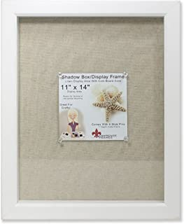 Lawrence Frames Shadow Box Frame with Linen Inner Display Board, 11 by 14-Inch, White