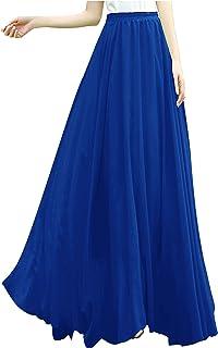 v28 Women Ladies Full/Ankle Length Elastic Retro Maxi Chiffon Long Skirt