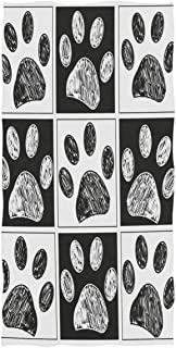 Wamika Dog Pattern Large Hand Towels Doodle Black White Dog Animals Paws Print Bath Towel Ultra Soft Highly Absorbent Multipurpose Bathroom Towel for Hand,Face,Gym,Sports and Spa Home Decor, 16x30 in