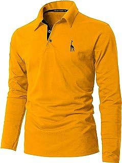 GHYUGR Polo Manica Lunga da Uomo Elegante Giraffa Ricamo Lavoro Golf Tennis Poloshirt Camicia