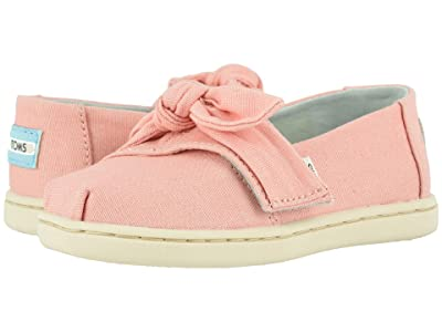 TOMS Kids Alpargata (Toddler/Little Kid) (Plant Dyed Pink Canvas/Bow) Girl