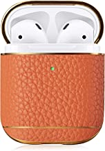 Pierre Case AirPod Case Cover Leather, AirPods Cases Protective Shockproof Covers Compatible with Apple AirPods 1& 2nd Case(Orange)
