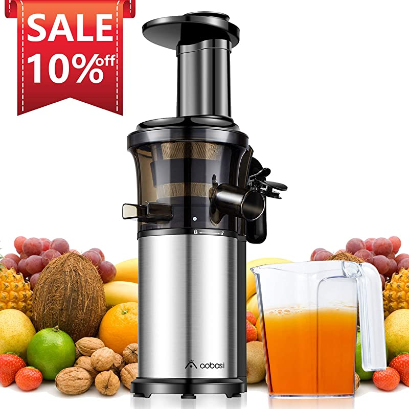 Aobosi Slow Masticating Juicer Extractor Compact Cold Press Juicer Machine With Portable Handle Quiet Motor Reverse Function Juice Jug And Clean Brush For High Nutrient Fruit Vegetable Juice