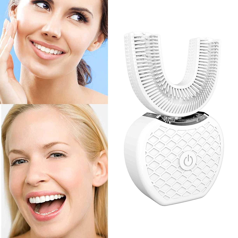シリンダー人工的な訪問新しい電動歯ブラシ、V-white 超音波自動歯ブラシ360°包囲清掃歯、より深い清掃 (ホワイト)
