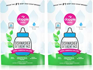 DAPPLE Baby Dishwasher Pacs, Fragrance Free, Sulfate-Free, Hypoallergenic, 25 Count (Pack of 2)