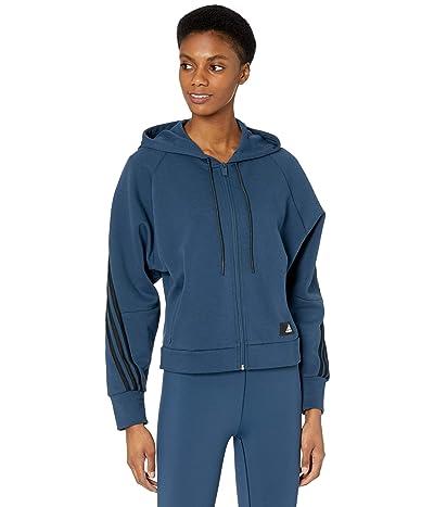 adidas Fleece 3-Stripes Full Zip Hoodie (Crew Navy/Hazy Blue) Women