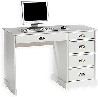 IDIMEX Bureau Colette Rangement avec 5 tiroirs et poignées Coquille, en pin Massif lasuré Blanc