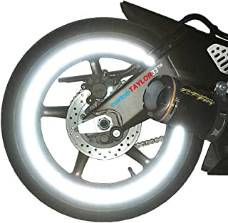"""customTAYLOR33 (All Vehicles White/Silver/Chrome High Intensity Grade Reflective Copyrighted Safety Rim Tapes (Must Select Your Rim Size), 17"""" (Rim Size for Most SportsBikes)"""