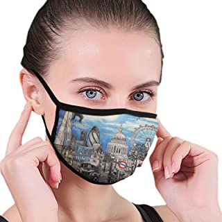 Face Mask London Paintings Black Border Masks Dustproof Balaclava Washable Mouth Cover For Sport Outdoor Activities