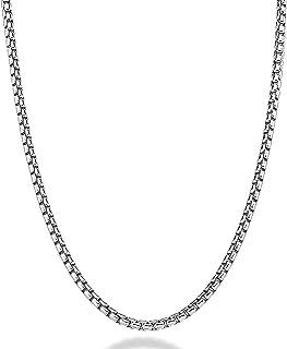 سلسلة Rolo مستديرة 3 مم غرامة 14 قيراط قلادة الذهب الأبيض النساء الرجال مجوهرات قوية الصلبة مشبك هدية مع مشبك جراد البحر مشبك