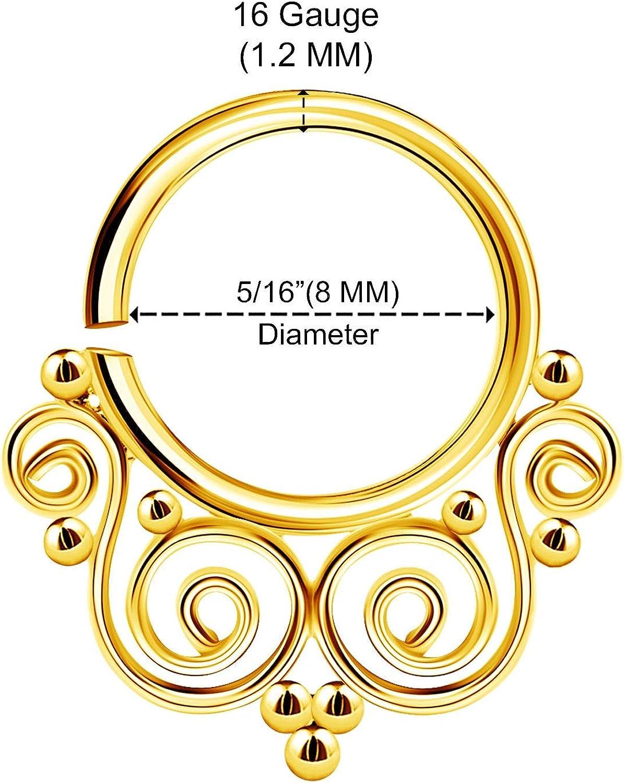 BanaVega Stainless Steel Annealed Nose Ring 16 Gauge 5/16 8mm Septum Earrings Piercing Jewelry See More Colors