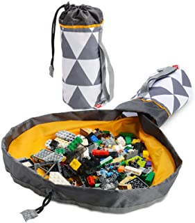 Creative QT SlideAway On-The-Go Toy Storage Bag and Play Mat - Available in Multiple Patterns - Grey Triangle Toy Bag