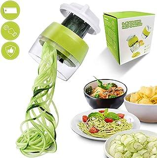 Flyfun Cortador de Verdura, Verduras Cortador Rallador de Verduras 4 en 1, Cortador Espiral Manual, Picadora de Alimentos Espaguetis de Calabaci