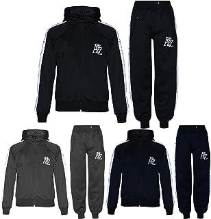 Kids Girls Boys A2Z Print Panelled Black Tracksuits Hooded Top Bottom Sportswear