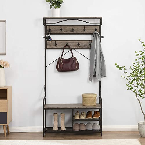 popular O&K online sale FURNITURE Coat Rack Shoe Bench, Industrial Hallway Hall Tree with Shoe Storage, Mudroom outlet sale Bench with Storage and Hooks, Gray sale