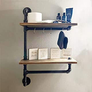 """MBQQ 2-Tiered Industrial Pipe Bathroom Shelves Wall Mounted,Rustic 19.6"""" Wall Shelf Over Toilet, Towel Rack with Towel Bar..."""