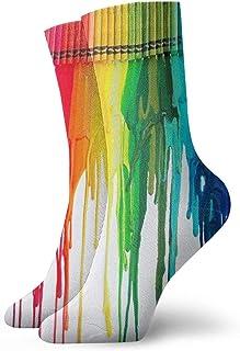 QUEMIN, Calcetines cortos deportivos clásicos pastel de color arcoíris 30 cm / 11,8 pulgadas adecuados para hombres mujeres