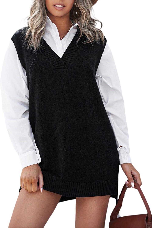 Aurlust Women V Neck Knit Sweater Vest Sleeveless Oversized Teens Knitwear Pullover Tanks Top