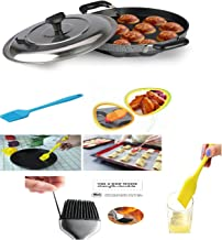 BMS Lifestyle Non-Stick 12 Cavity Heavy Weight Appam Patra Side Handle with Lid, Color May Vary with 1 Oil Brush