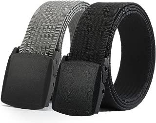 WYuZe Mens Nylon Web Belt No Metal Nickel Free 2Pk Military Tactical Hiking Belt