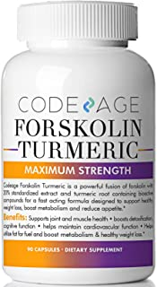 Codeage Turmeric Forskolin Formula for Men and Women Forskolin 20 Percent Standardized Extract and Turmeric Root 95 Percent, Coleus Forskohlii, 90 Capsules