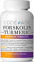 Codeage Turmeric Forskolin Formula for Men and Women Forskolin 20 Percent Standardized Extract and Turmeric Root 95 Percent, Coleus Forskohlii, 90 Capsules