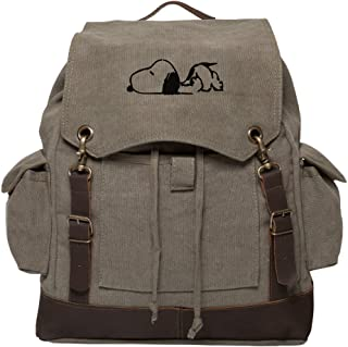 e04273cdcd Snoopy Laying Flat Vintage Canvas Rucksack Backpack with Leather Straps