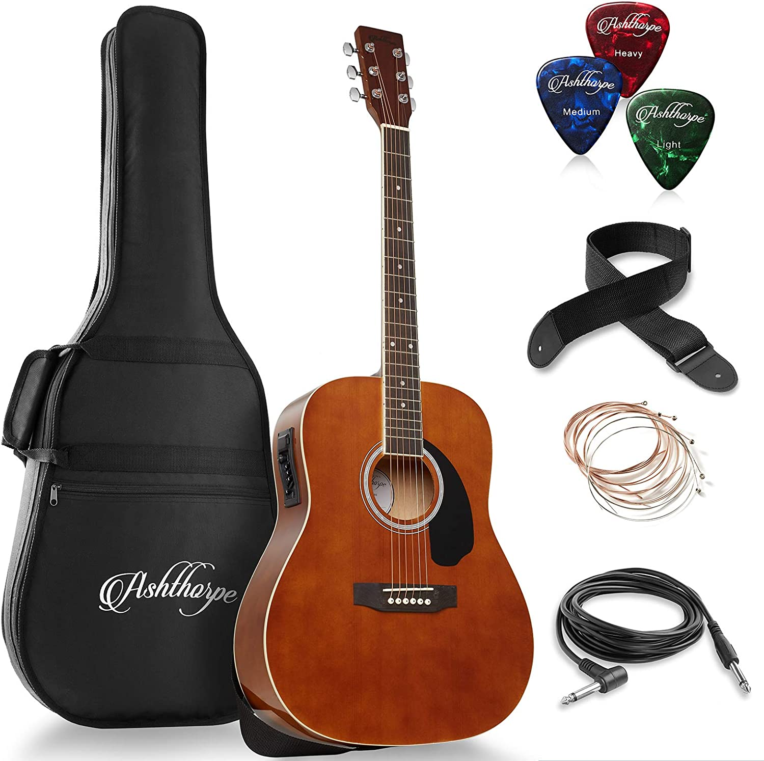 sold out Ashthorpe Max 73% OFF Full-Size Dreadnought Acoustic-Electric Bundle Guitar