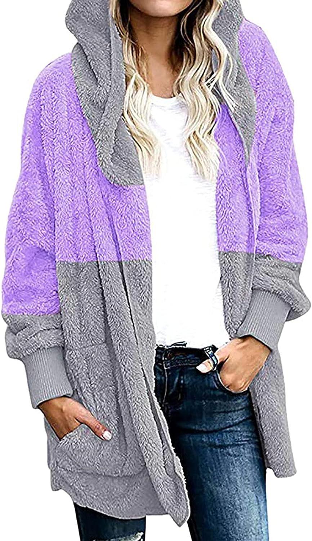 ameIAEA Women's Fashion Long Sleeve Fleece Hoodie Jacket Faux Shearling Shaggy Oversized Coat Jacket Warm Winter Outwear
