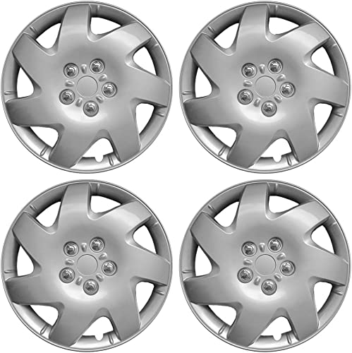 16 inch Hubcaps Best for 2002-2006 Toyota Camry - (Set of 4) Wheel Covers 16in Hub Caps Silver Rim Cover - Car Accessories for 16 inch Wheels - Snap On Hubcap, Auto Tire Replacement Exterior Cap