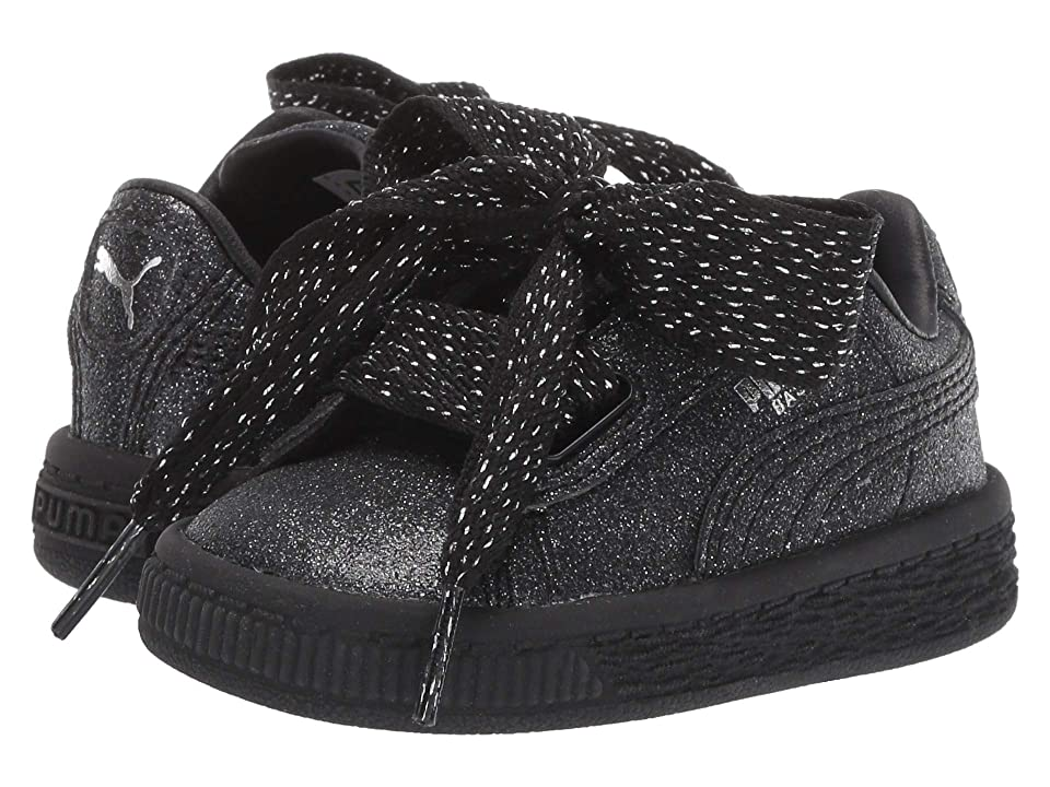 Puma Kids Basket Heart Holiday Glamour Inf (Toddler) (Puma Black/Puma Silver) Girls Shoes