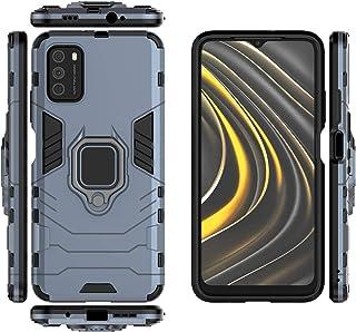 جراب QiongNi لهاتف Xiaomi Poco M3، جراب واقي لدرع السيارة المغناطيسي لهاتف Xiaomi Poco M3 M2010J19CG M2010J19C9 / Redmi No...